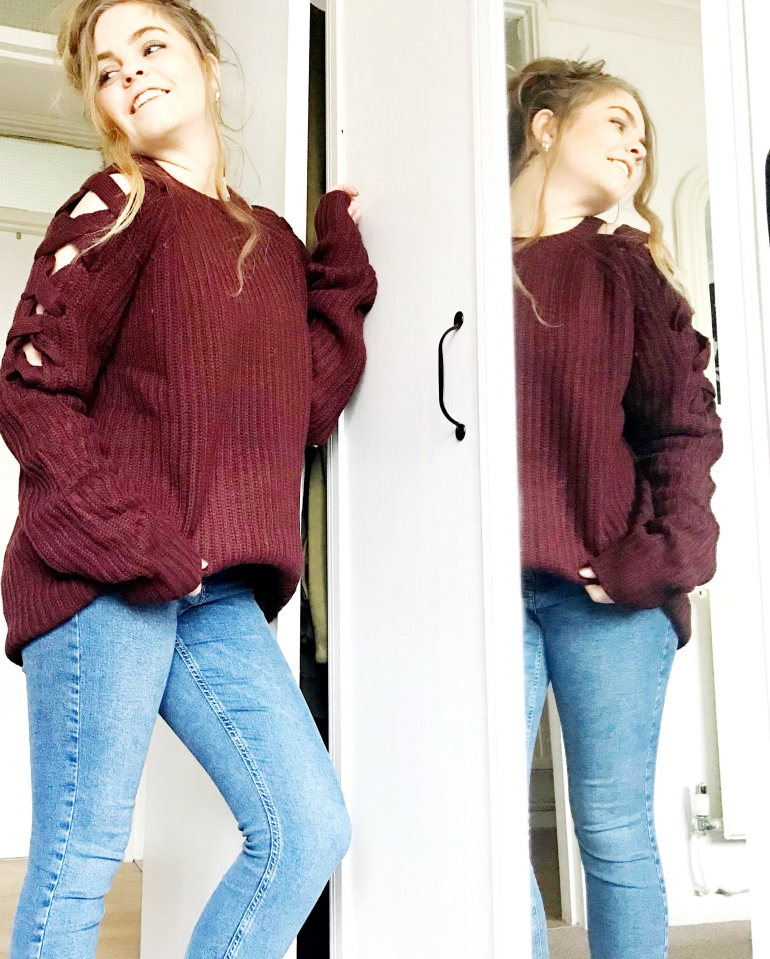 Red wine lace up sleeve jumper