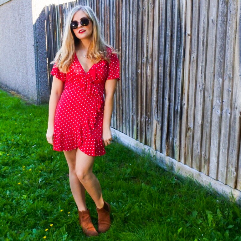Red polka dot dress Boohoo